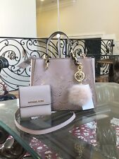 NWT, 3PCS Authentic Michael Kors Sofia Perforated MD NS Handbag+Wallet+Pom Pom