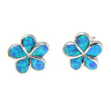 INLAY OPAL STERLING SILVER 925 HAWAIIAN PLUMERIA FLOWER STUD POST EARRINGS 10MM