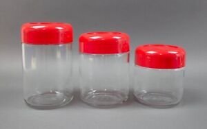 Heller Designs Massimo Vignelli Glass Canisters Mid Century Modern Set Of 3