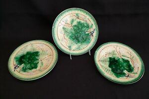 VINTAGE MAJOLICA SET OF 3 PLATES DISHES GREEN DOGWOOD FLOWER IVY FERN PATTERN