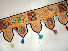 VINTAGE DOOR VALANCES INDIAN TORAN WALL HANGING EMBROIDERED MIRROR WORK TAPESTRY