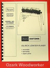 "CRAFTSMAN 113.206801 & 113.206931 6 1/8"" Jointer Operator & Parts Manual 0174"