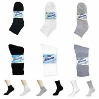 12 Pairs Men's Diabetic Cotton Crew & Ankle Circulatory Health Socks 9-11 10-13