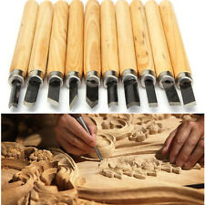 10 Pcs Wood Carving Woodcarving Hand Chisel KNIFE Tool Set Woodworkers Gouges