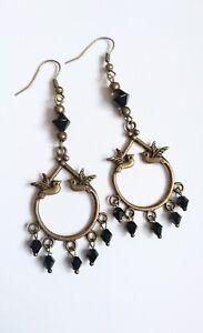 love BIRD art deco drop EARRINGS 70mm Black bead glass  hooks bronze