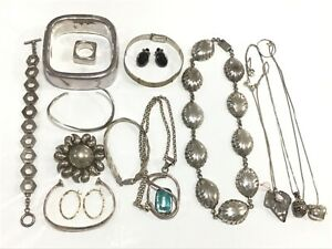 Lot of Sterling Silver Jewelry Some Stones 280 Grams Total Weight 15 Items