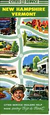 1952 Cities Service Road Map: New Hampshire Vermont NOS