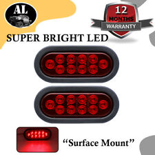 "2X 10LED Red 6"" Oval Stop Brake Tail Single Light Kits Truck Trailer ATV RV Boat"