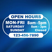 Business Store Shop Open Hours Decal Sticker Window Door Sign Decals