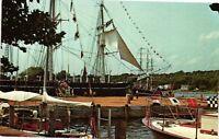 Vintage Postcard - Mystic Seaport  - Setting Sail whaleship Connecticut CT #2002