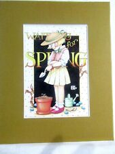 """New listing Mary Engelbreit Matted Calendar Print 8"""" X 10"""" Waiting for Spring #117"""