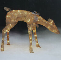 Sears Roebuck Gold Christmas  Lighted Doe Deer Indoor Or Lawn Yard Ornament