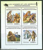 GUINEA 2014 PREHISTORIC MAN AND ANIMALS SHEET MINT NH