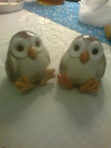 Retro Fitz and Floyd owl ware. Salt and pepper set. 1970 retro hand painted.