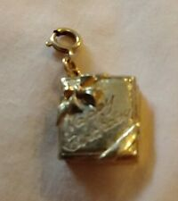 Vintage Rare MONET Articulated Happy Birthday Book That Opens Charm gold tone