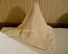 Vintage acrylic thermal open weave white baby blanket nylon trim 34 x 44