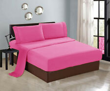 4-PC  Luxury Pink Twin Sheet Set Flat Fitted Pillows New 1300TC
