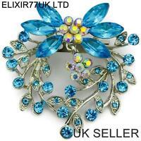 LARGE SILVER FLOWER PIN BROOCH JOB LOT PURPLE BLUE GREEN DIAMANTE CRYSTAL BROACH