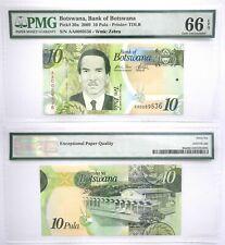 PMG Botswana 10 Pula 2009 UNC Banknote 66 EPQ SN:AA0089536 Pick # 30a