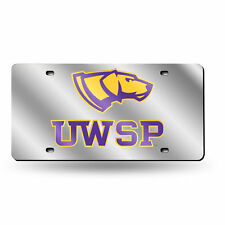Wisconsin Stevens Point Pointers NCAA Mirrored Laser Cut License Plate Auto Tag