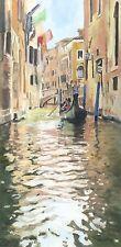 "STUNNING ELAINE MARSTON ORIGINAL ""Venice Canal Scene III"" Italy Gondola PAINTING"