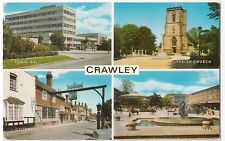 Sussex; Crawley Multiview PPC, 1977 PMK By Salmon, Shows Town Hall, George Hotel