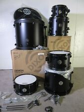Dixon Demon 6 Piece Drum Kit - Satin Black - Birch/Mahogany Shells - 22/16/14/10