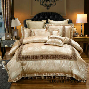 Golden Red Luxury Wedding Bedding Set King Queen  Cotton Stain Jacquard Bed Set