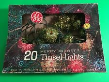 Vintage GE Merry Midget Tinsel Lights Box of 20 Christmas decorations works