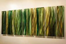Modern Metal Abstract Hand Painted Home Wall Decor Natural Reeds by Jon Allen