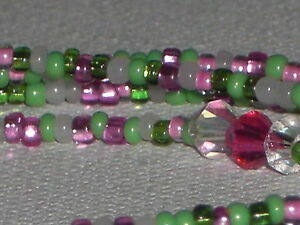 "Eyeglass Chain~ NEW~Lime Green and Pink~Crystal Accents~28""~Buy 3 SHIP FREE"