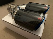 "UNIVERSAL DOUBLE 3.5"" AKRAPOVIC STYLE  GLOSS CARBON BLUE EXHAUST CHROME TIPS"