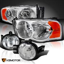 02-05 Dodge Ram Chrome Headlights Head Lamps+Clear Bumper Driving Fog Lights