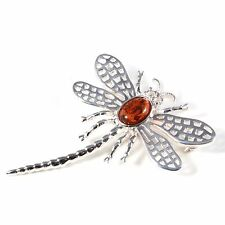 Silver / Amber Dragonfly Lace-wing Brooch