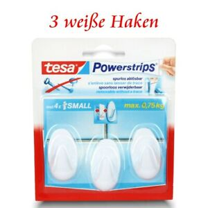 tesa Powerstrips® Haken - Selbstklebend o. Bohren - 3 ovale Klebehaken - weiß