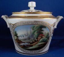 rétro 19thC Kiselev russe porcelaine SCENIC SUCRIER plat Russia Kozlov