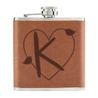 Letter K Heart Alphabet 6oz PU Leather Hip Flask Tan - Valentines Day Love