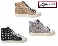 New WOMENS LADIES FLAT LACE UP STUDDED HI TOP TRAINERS Pumps Sneakers PLIMSOLES