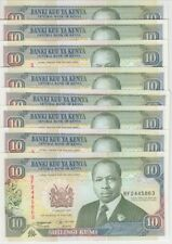 Kenya Banknote P24f 10 Shillings 1994, Dealer Lot, 8 pieces, AU-UNC