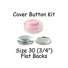 Size 30 (3/4 inch) Cover Buttons Starter Kit (makes 10) with Tool - Flat Backs