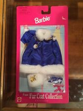 1998 Barbie Fur Coat Collection Fashions Blue 68664 New In Box