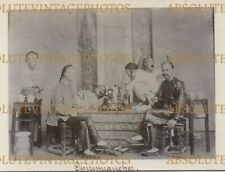 OLD CHINESE ALBUMEN PHOTO CHINESE OPIUM SMOKERS HONG KONG / CHINA VINTAGE C.1900