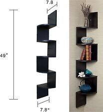 Large Corner Wall Mount Shelf Black Home Rack 5 Shelves Zig Zag Furniture Modern