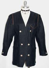 Black Linen Women Austria Hunting Riding Tux Dress Suit Coat Jacket/Eu 40/10 M