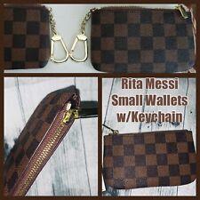Rita Messi Checkered Zip Coin Pouch Purse Change Holder Wallet Key Chain - Brown