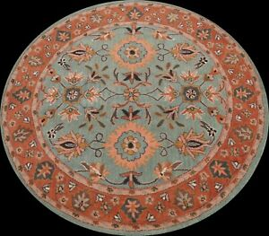 Floral Traditional Oriental Area Rug Living Room Hand-tufted Wool 6'x6' Round