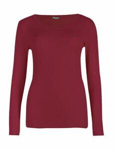 NEW Plain Long Sleeve Women Ladies Round Neck Stretch UK Plus Size T Shirt Top