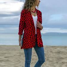 UK Plus Size Women Leopard Print Blazer Lapel Coats Party Casual Jacket Outwear