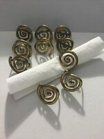 Vintage Lot of 10 Solid Brass Napkin Rings Spiral Round Abstract Unique Gift