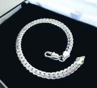 Men's 5mm 20cm 925 sterling silver chains bracelet bangle ☆ Free Gift Bag ☆